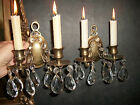 Pair of Lovely Vintage Solid Brass Candle Wall Sconces With Prisms / Crystals