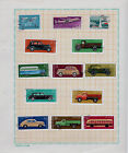 A Page with 13 Soviet Russian Postage Stamps, Cars, Airplanes, 1963-1976