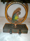 ALL ORIGINAL ANTIQUE BRADLEY & HUBBARD PARAKEET DOOR STOP W/RUBBER STOPS, & FELT
