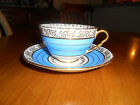 Royal Stafford Bone China Cup & Saucer Sky Blue, Gold Leaf & White Numbered