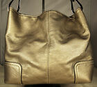 ~SILVERY-GOLD PEBBLED LEATHER~Tote Shoulder Purse/Bag~3 SECTIONS~ORGANIZER~EX!!!
