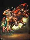 Spanish Mexican Bullfighter Bull fight Art Canvas Black Velvet Oil Painting A122