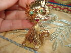 VINTAGE SOLID 18KT GOLD KITTY- CAT BROOCH W/ EMERALDS & RUBY-GORGEOUS