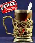 Russian Set Tea Glass CUP Holder Hunting Duck Club Solid Brass Art molding Gift