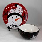 Target Snowbiz Christmas Holiday Red Black Snowflakes Snowman Bowl Dessert Plate
