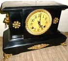 NICE RARE ANTIQUE WORKING NEW HAVEN USA CAST IRON WOLF HEAD CHIMING MANTLE CLOCK