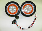 2 Amber Clear 4 Round LED 21 SMD Diodes Turn Park Light Optronics Glo Light