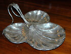 Antique Vintage Large Handled Oyster Scallop Shell Serving Silver Plate Bowl