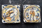 Antique Very Rare Set of 2 Small Spanish/Portugese Delft Tile Lady + Dog 17th C.