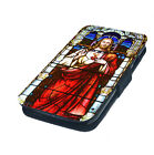 Stained Glass Jesus Printed Faux Leather Flip Phone Cover Case