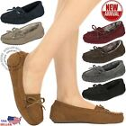New Moccasins Women Slip On Indoor Outdoor Shoe Slipper Fur Loafer 5 10 Size