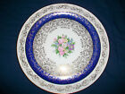 Edwin Knowles Charger Plate Semi Vitreous 22 K Gold Bouquet with Blue & Gold