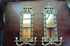 Pair Antique Vintage Sconces Solid Brass Mirror Back Fish Dolphin Ornate Wall