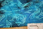 Item#5059: True Batik Fish in the water cotton fabric. Shades of blue
