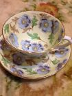 TUSCAN  TEA CUP & SAUCER HANDPAINTED FLORAL PATTERN Pail Yellow Signed-Numbered