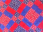 12 PATRIOTIC  RED AND BLUE STAR JEWEL  COTTON FABRIC QUILT BLOCKS HAND MADE