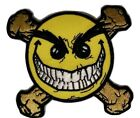 D35 EVIL GRIN SMILEY FACE CROSSBONES 3 iron on patch