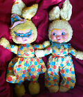 VINTAGE Gund~Rubber Face~ Bunny Rabbit Pair~MARDIGRAS~Gund Swedlin~Made NYc, USA