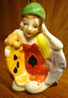 RARE JAPAN PORCELAIN 1920's WOMAN WITH CAT AND DOG FIGURINE