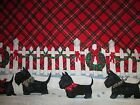 Daisy Kingdom Tartan Terrier Christmas Border Fabric Red #1195 Crafts