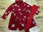 Girls Sz 3 Gymboree Snowflake Red Turtleneck Dress & Tights Christmss