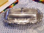 Poole Lancaster Rose Silverplate Covered Footed Butter Dish With Knife