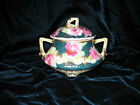 VINTAGE WHEELOCK-JAPAN SUGAR BOWL WITH LID/HANDLES AND LEGS-TURQUOISE,WHITE,PINK