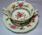 Rare Antique Flowers Bullion Cup and Saucer Crescent Ware&Sons England #6