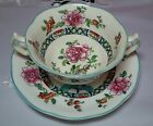 Rare Antique Flowers Bullion Cup and Saucer Crescent Ware&Sons England #7