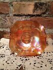 Vintage Fenton STRAWBERRY Marigold Carnival Glass 2  Handled Bon Bon Dish