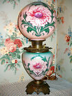 c 1905 Pittsburgh GWTW Parlor Banquet Lamp Thistle Flowers Victorian Antique