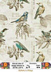 LANSING BREEZE Natural & Turquoise Cotton Duck Fabric  Birds By the Yard