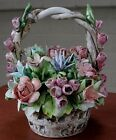 Vintage Capodimonte porcelain flowers in basket Italy figurine old antique
