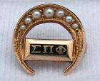 RARE ANTIQUE VINTAGE 10K GOLD SEED PEARL SIGMA PI PHI BOULE FRATERNITY PIN