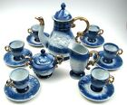 17 Piece Tea Set Blue & White Gold Trim