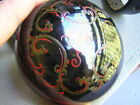 Vintage Asian Japanese Lacquer Box Signed Black and Red NICE
