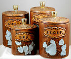 Vintage 1960s Treasure Craft Canister Set Wood With Fruit