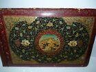Antique Persian Painting /B Hunting Scene Horseback Men Birds, Panel 24.5 x 38cm