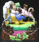 Antique Early 19th C Porcelain Staffordshire Covered Inkwell Set Ladies With Dog