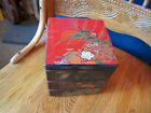 Vintage Japanese LACQUER WARE Stack 3 TIER LUNCH  or TINKET Box BLACK RED GOLD