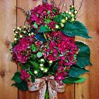 XL Spring Summer Wreath Floral FUCHSIA HYDRANGEA BERRY DOOR WREATH HOME DECOR