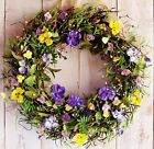 LARGE Spring Summer Wreath Floral Country WILD PANSIES BERRY DOOR WREATH DECOR