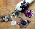 APPLIQUE Single 225 SEQUINS  BEAD FLOWER with LEAVES Hand Sewn 1pc