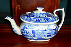 1820s American Historical View Blue Transferware Teapot ~ City Hall, New York ~