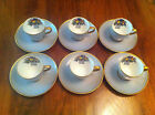 VINTAGE LIMOGES FRANCE AHRENFELDT GREY DEMITASSE ESPRESSO CUPS & SAUCERS`UNUSUAL