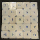 Antique Large Set of 25 Dutch Delft Tiles Children-Play/Picture Selling/Golf
