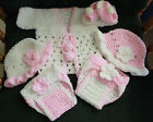 Hand Crochet Baby Pink 6 Pc Outfit 2 Diaper cover2 BonnetSandalsSweater
