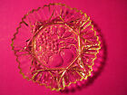 Vintage Heavy Cut Glass Apple Grape Leaf  Fruit Curvy Serving Plate Decorative