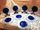 Lot of (8) Cobalt Blue & Clear Fluted Glass Ribbed Rim 8