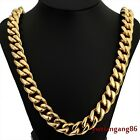good quality yellow gold tone highly polished stainless steel men's necklace 24